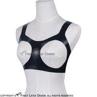 Black Sexy Latex Bra Open Bust Rubber Bras Lingerie brassieres Unisex New 0004