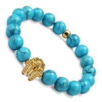 Wholesale Silver Turquoise Stone Chain Bracelet - Gold Color Pharaoh Head Beads Bracelets & Bangles Elastic Rope Chain Natural Stone Bracelet For Women And Men Jewelry Gift