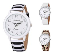 Wholesale Zebra Pencil - 2017 fashion unisex mens women students zebra pencil Leopard leather watch wholesale new casual ladies dress party quartz watch