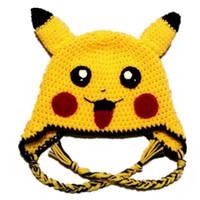 Wholesale Lovely Boys Photos - Lovely Yellow Pikachu Hat,Handmade Knit Crochet Baby Boy Girl Anime Cosplay Costume,Kids Halloween Costume,Infant Toddler Photo Prop