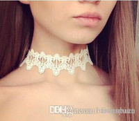 Wholesale 2017 Newest fashion jewelry accessories white black lace tattoo choker necklace for couple lovers