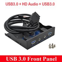 enchufe para auriculares al por mayor-100set * 5Gbps 20 Pin 4 puerto USB 3.0 Hub HD Audio 3.5mm auriculares Jack Mic interfaz PC panel frontal para la computadora 3.5