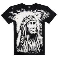 Wholesale T Shirts Wholesale Famous Brands - Wholesale- Cool 3D Printed On Shoulder Shirt, XXXL Casual Men's Wear Indian Feather T Shirt Famous Brand New 2015 Arrival Creative Summer