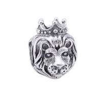sterling silber löwen schmuck großhandel-Löwe Charms Könige des Dschungels Märchen Krone Charms Vintage authentische S925 Sterling-Silber-Schmuck Tier Bead für Diy Schmuckherstellung