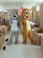 Wholesale Mouse Jerry Costume - Jerry &Tom Costume Gray Cat & Brown Mouse Mascot Costumes Party Fancy Dress Christmas Hallowmas Mascot Free Shipping