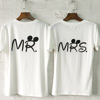 Wholesale Lover Couples - Wholesale- 2016 Summer Brand MR MRS Letter Printed O-neck T-Shirt Women Men Fashion Cotton Short Sleeve Casual Couple Lover T-shirt