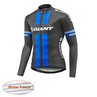 Wholesale Thermal Long Sleeve Shirts Men - 2017 Giant Team Long Sleeve shirt Cycling Jersey Winter Thermal Fleece Cycling Clothing ropa Ciclismo Invierno Men sportswear C1003