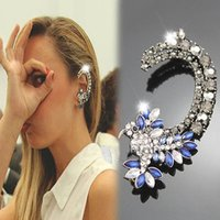 Wholesale Colorful Ear Cuffs - 1pc Womens Colorful Crystal Iced Out Hummingbird Ear Cuff Ethic Clip Earrings 8XMI
