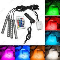 Wholesale Interior Foot Light Car - FEELDO 4Pcs Set Car Interior Decorative RGB LED Strip Light Atmosphere Lamp Kit Foot Lamp With 24 Key Remote Controller #4567