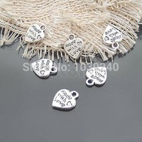 Wholesale-Lot 50 Silver FEITO COM AMOR CZ Heart Charms Pendants Necklace Beads for DIY