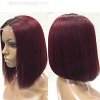 Wholesale Straight Red Lace Front Wigs - Fashion ombre Short bob wig straight lace front wig 99j dark root red human hair full lace wigs baby hair