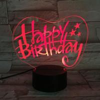 ingrosso lampade di luci felici-Colorful 3D LED lampada colore creativo che cambia Happy Birthday Desk Lamp regalo decorativo LED Night Light per la stanza del bambino spedizione gratuita