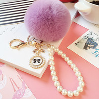 Wholesale Rose Gold Pendant Light - Lazy rabbit hair ball pearl chain bow tags handbags accessories plush maomao car fur ball pendant