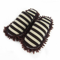 Wholesale Microfiber Chenille Wipe - House Bathroom Microfiber Floor Cleaning Mop Dust Cleaner Slippers Detachable Floor Wipe Striped Chenille Lazy Shoes Cover