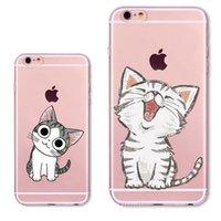 Wholesale Iphone Cases Silicon Animals - Cute Cat Phone Case For iPhone 5 5s SE Fashion Animals Clear Transparent Soft Silicon Coque Capa Para Mobile Phone Bag