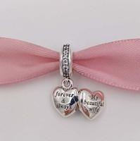 güzel sevgililer günü toptan satış-Sevgililer Günü 925 Ayar Gümüş Boncuk Benim Güzel Eş Charm Avrupa Pandora Stil Takı Bilezikler 791524CZ sıcak sevgililer hediye Uyar