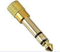 """Wholesale Microphone Cable Headphone Jack - 500PCS 6.5mm 1 4"""" Male to 1 8"""" 3.5mm Jack Stereo Microphone Headphone Audio Adapter Male to Female Gold 0001"""