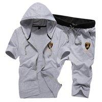 Wholesale Up Collar Suit Jackets - Wholesale-2pcs men soprt suits jacket+shorts plus size casual suits casual sweatshirt hoodies set