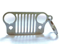 Wholesale For Jeep Grill Key Chain Quality Laser Cut Stainless Steel Will Never Rust KeyRing CJ JK TJ YJ XJ