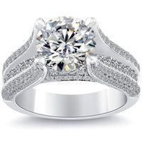 Wholesale Natural Round Certified Diamonds - 4.35 I-VVS2 Certified Natural Round Diamond Engagement Ring 18k White Gold
