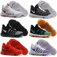 Wholesale Pure Leather Shoes For Men - 2017 New Arrival KD 10 X Zoom KD10 White Chrome Pure Platinum Basketball Shoes for Kevin Durant Airs Sports shoes Size 7-12