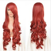 Wholesale Wavy 33 Inch Wig - Wholesale free shipping >>>>Red Long Wavy Curly Cosplay Full Wig Fashion 33 inch High Temp Wigs for Women