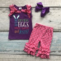 Wholesale Easter Color Egg - baby girls boutique clothing sets Easter who needs eggs Juses ruffles cotton capris sets summer outfits match with accessories