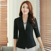 Wholesale Women Blazer Cuff - Casual Work Office Blazer Three Button Jacket for Women Half Sleeve With Turnback Cuffs 2017 Fall Spring Slim Candy Color Blazer