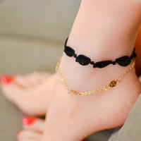 Wholesale Hot Womens Feet - 12 pieces Lot Hot Sale Handmade Gothic Retro Summer Sweet Leaf Lace Anklets Womens Ankle Bracelets Gold Metal Chain Foot Jewelry 7203