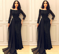 Wholesale Chiffon Embroidery Prom Dress - Sparkly Black Long Sleeve Prom Pageant Dresses 2017 Modest Middle East Arabic Arab Mermaid Sexy Evening Formal Gowns with Ribbon