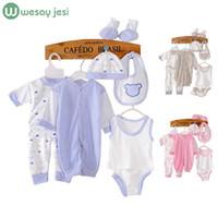 yeni doğan bebek bezi seti toptan satış-8 ADET Yeni Bebek giyim eşofman yenidoğan bebek bebek erkek giysileri çocuk bez suit yeni doğan toddler kız bebek giyim setleri