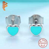 Wholesale Blue Enamel Flower Earrings - BELAWANG Hot Sale 4 Styles 925 Sterling Silver Heart Star Flower Stud Earrings for Girls Fashion Jewelry Black&Blue&Pink Enamel Earrings