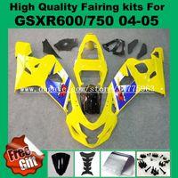 carenado k5 amarillo al por mayor-K4 K5 Carenados de inyección para 04 05 SUZUKI GSXR600 GSXR750 2004 2005 GSX-R600 GSX-R750 2004 2005 Carenado amarillo azul # 59-7G