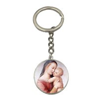 Wholesale Baby Jesus - 2017 Free Shipping Virgin Mary Mother of Baby Keychain Jesus Christ Christian Jewelry Glass Photo Car Key Chain Wholesale NS63