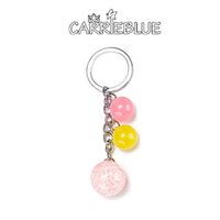 Wholesale Key Rings For Beads - 2017 hot cute Acrylic candy bead Charm Silver Key Ring For Car Bag Key Chain Handbag pendant bag charm women's accessories KY12