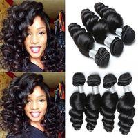 Wholesale Double Jet - 9A peruvian virgin hair jet black loose wave human hair unprocessed Human hair Extension3 bundle cheap bundle weave 3,4,5pcs lot 100g