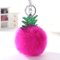 Wholesale buckles for accessories online - Lovely Pineapple Keys Chain Knapsack Decorate Pendant Fur Ball Key Buckle Gift For Christmas Jewelry Accessories wz C R