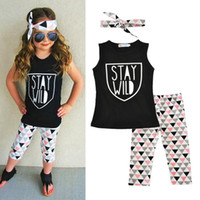 Wholesale Wholesale Summer Clothes Sale - Western Letter Printed Girls Boutique Clothes Sleeveless Baby Girls Clothing set Autumn Hot Sales Children Clothing