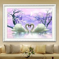 Wholesale Oil Paintings Swans Canvas - YGS-592 DIY 5D Partial Diamond Embroider The two swans Round Diamond Painting Cross Stitch Kits Diamond Mosaic Home Decor