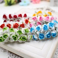 Wholesale Small Flower Car - Wholesale-10PCS lot 1.5 cm of artificial color small paper Mei school supplies festive wedding car decorated with handmade flowers