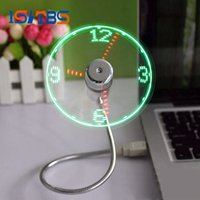 Wholesale Lead Gadgets - USB Time Fan Gadget Mini Flexible LED Light USB Fan Time Clock Desktop Clock Cool Gadget Time Display High Quality