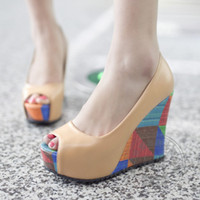Wholesale Cheap Yellow Wedge Heels - Women Platform Black Wedge Fish Mouth Shoes High Heels Colorful Fetish Hit Color Cheap Plateau Open Toe Mixed Colors Wear