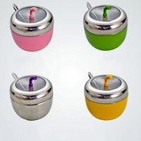 Wholesale Stainless Sugar Bowls - Wholesale- Free Shipping! 1pcs SUS304 Stainless Steel Sugar Bowl  Seasoning Box  Spice Jars Apple Shape