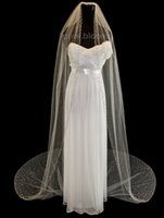 Wholesale Ivory 1t Cathedral Wedding Veils - 3M Cathedral White Ivory Wedding Veil Crystal Bridal Veils With Comb 1T