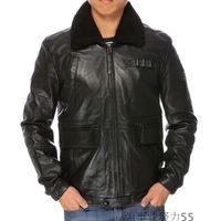 Wholesale Leather Jackets Lambskin Sheepskin - 2017 black Lambskin lapel neck sheepskin flight leather suits motorcycle men leather jacket 100% genuine leather