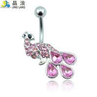 Wholesale Diy Belly Button Ring - Promotion! DIY Brand New High Quality Fashion 2 Color Rhinestone Peacock Belly Button Ring For Women Body Jewelry