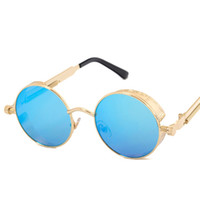 casacos para homens vintage venda por atacado-Alta Qualidade UV400 Gothic Steampunk Mens Óculos De Sol De Revestimento Espelhado Óculos De Sol Redondo Círculo óculos de Sol Retro Vintage Gafas Masculino Sol
