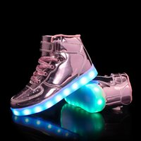 Wholesale Led Top For Girls - boys girls 7 Colors High-top LED Shoes for kids White Black Glowing Light Up Shoes Flat LED Luminous Shoes chaussure children