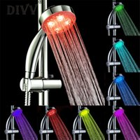 Wholesale 7color Led Shower Head Lights - Wholesale- Home Wider Hot Selling Handheld 7Color LED Romantic Light Water Bath Home Bathroom Shower Head Glow Free Shipping Dec5