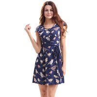 Wholesale Elegant Summer Cardigans - Women Summer Pleated Mini Dress Printted Color Round Color Cardigan Top Style Shrink Sashes Waist Elegant Fashion Dresses